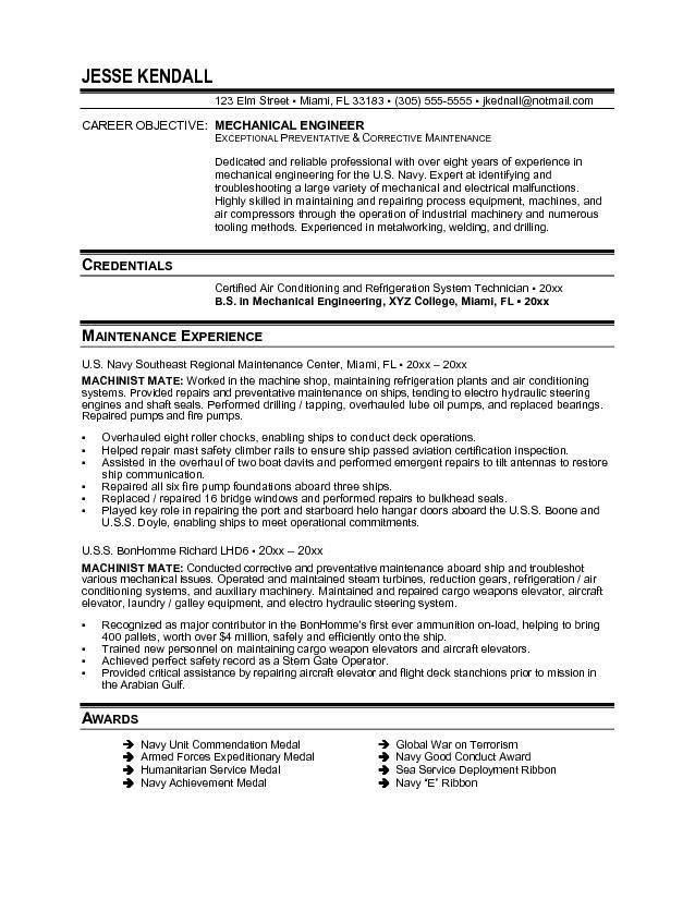 resume mechanical engineer resume sample