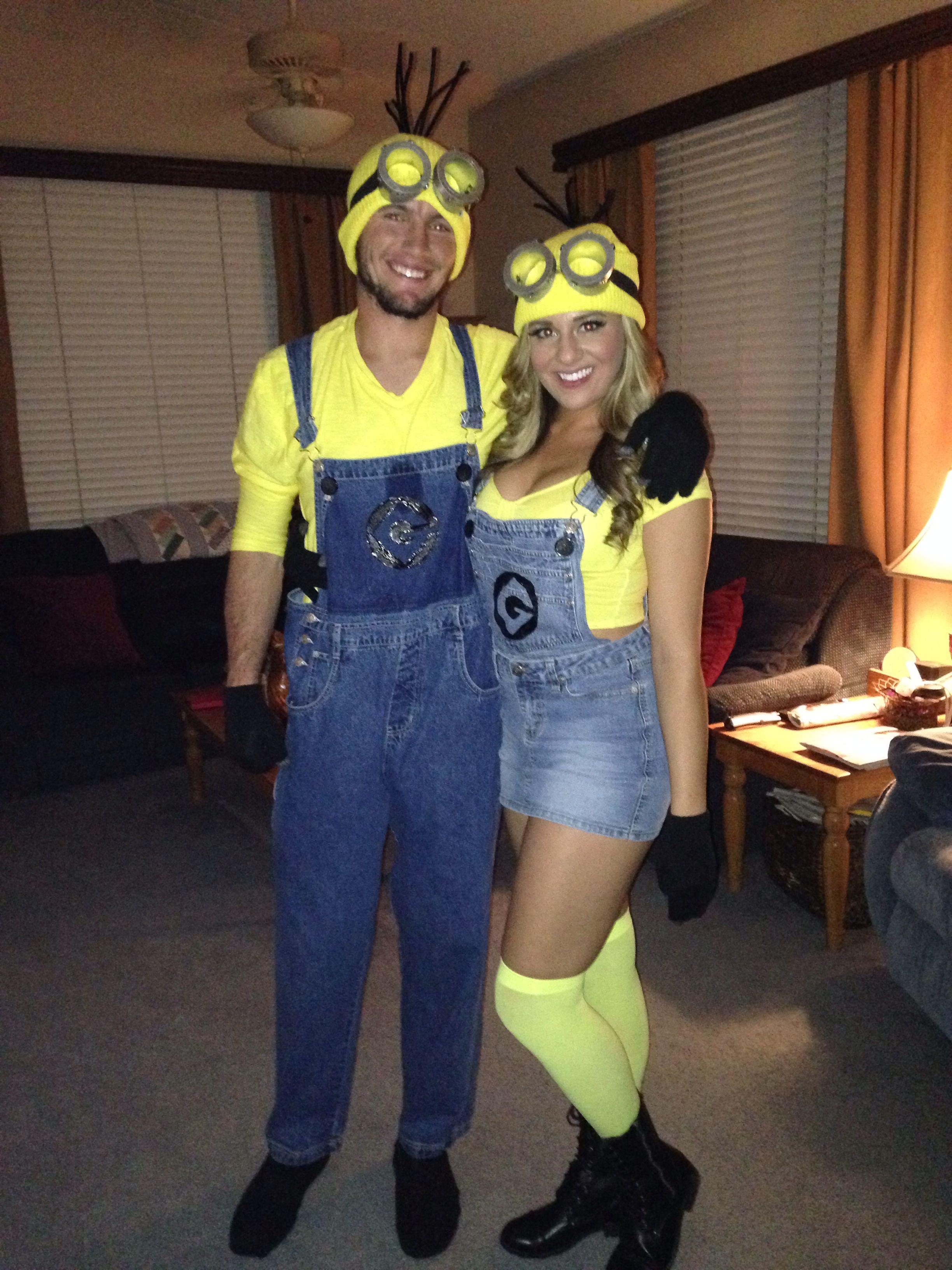 Homemade couples halloween costume. Minions! Costumes