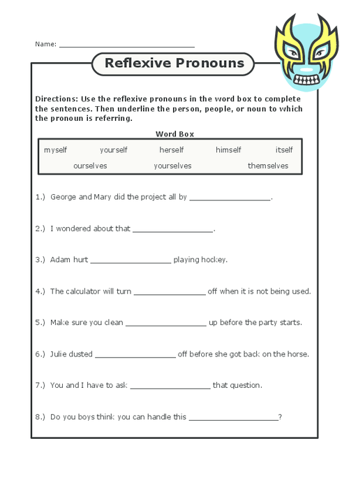 Reflexive Pronouns Free worksheets, Worksheets and English