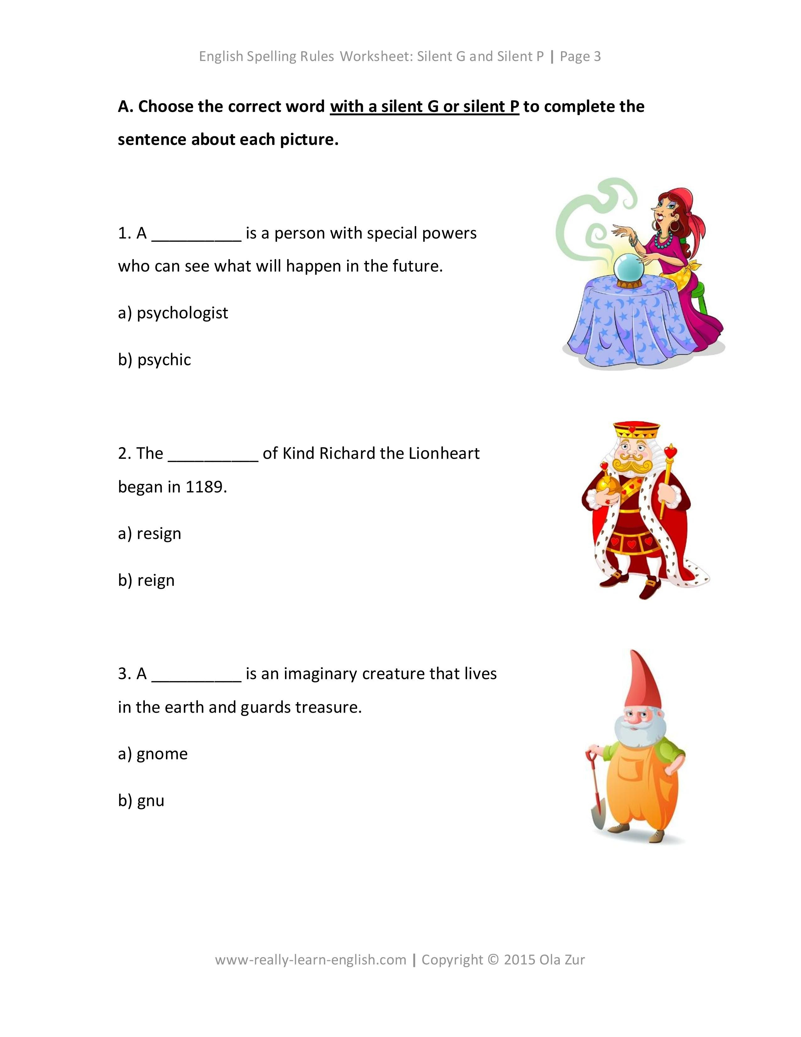 English Spelling Rules Worksheets For Silent G And Silent