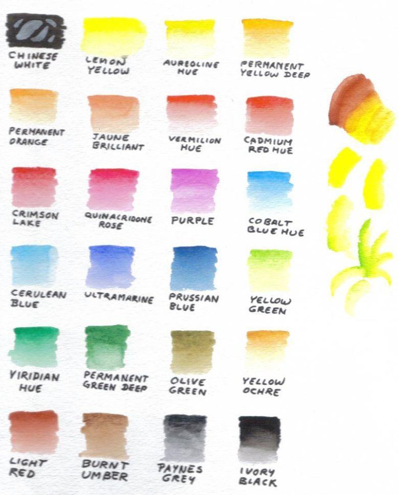 color chart, 24 sakura koi by robertsloan2 | watercolor tutorials