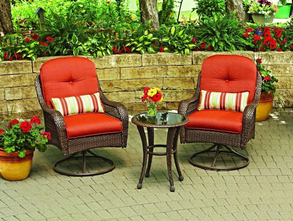 Patio Swivel Chair Set Garden Furniture Outdoor Wicker