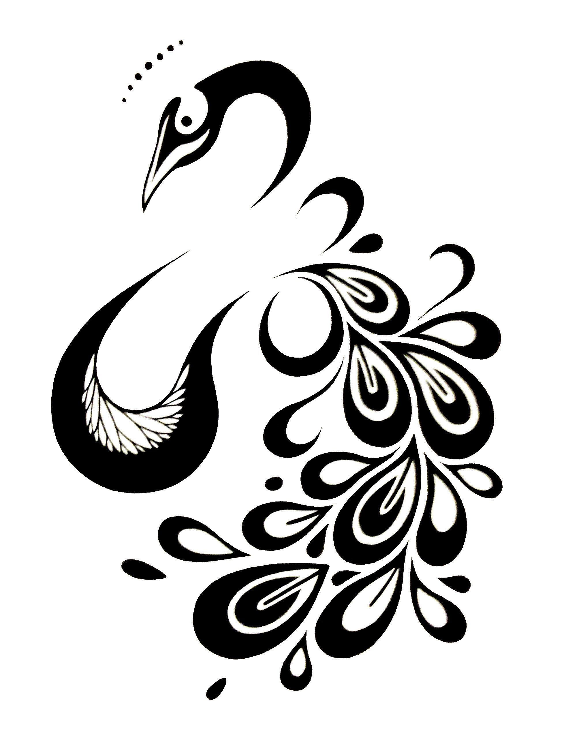 Peacock Tattoo Design Stenciling, Quilting stencils and