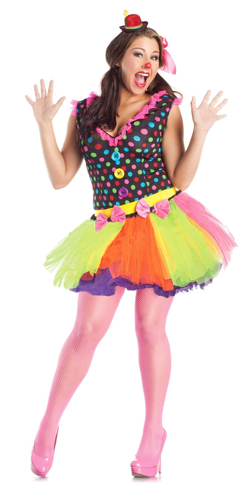 Cute Clown Costume DRESS Skirt Polka Dot Adult Women Plus