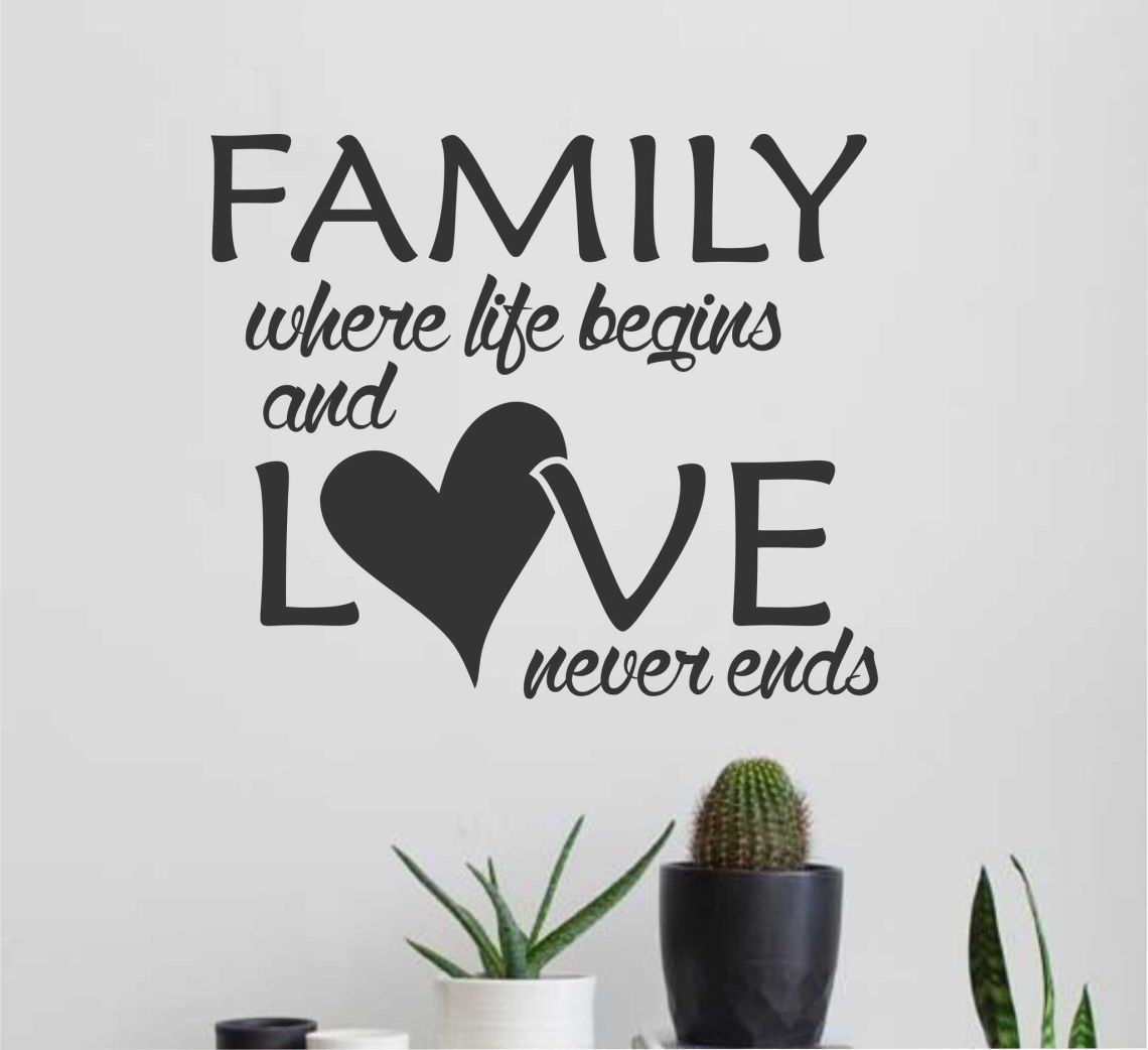 Download Family Life Begins Love Never Ends | Wall Quotes | Vinyl ...