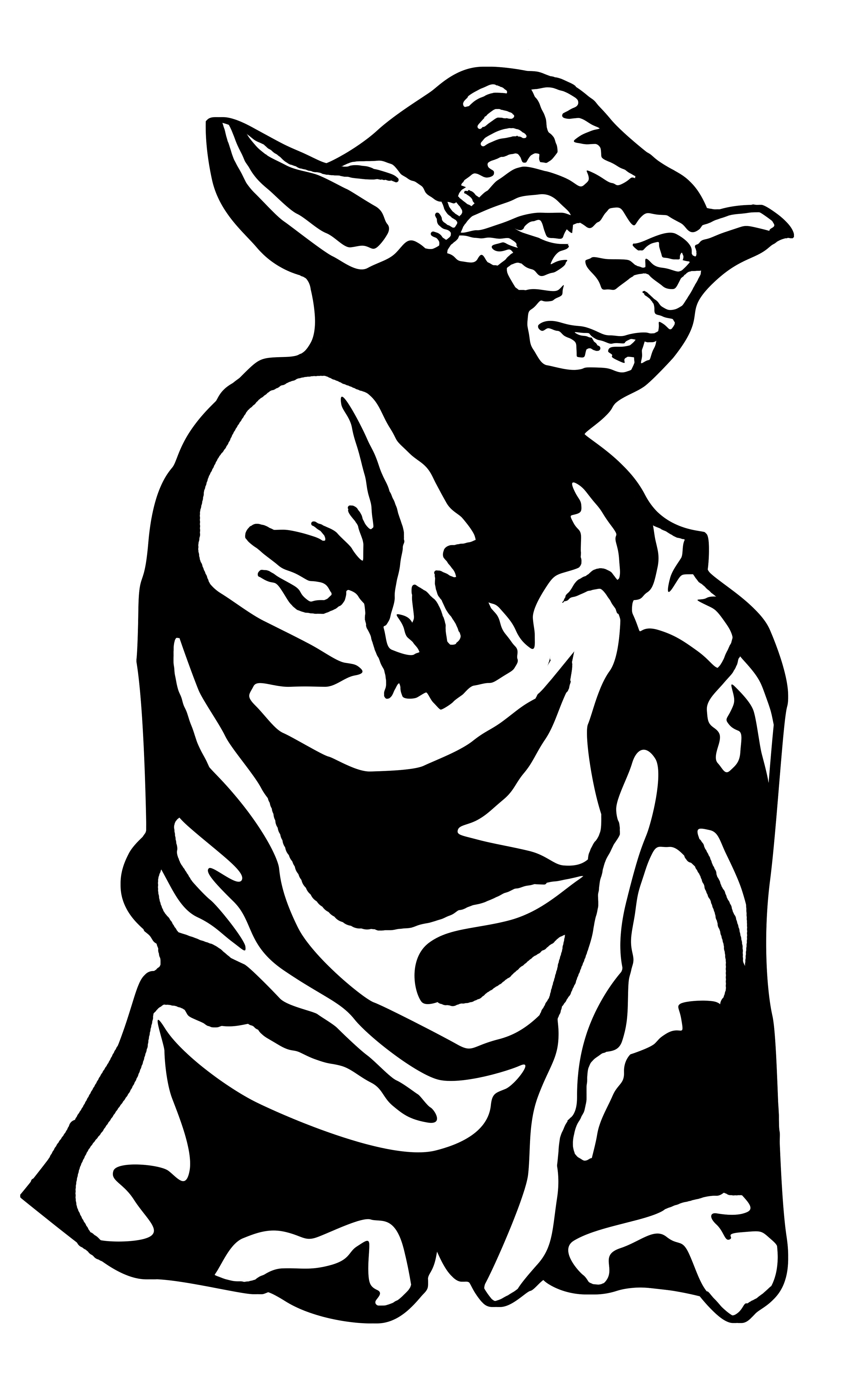 Yoda life size stencil for kids room wars of stars