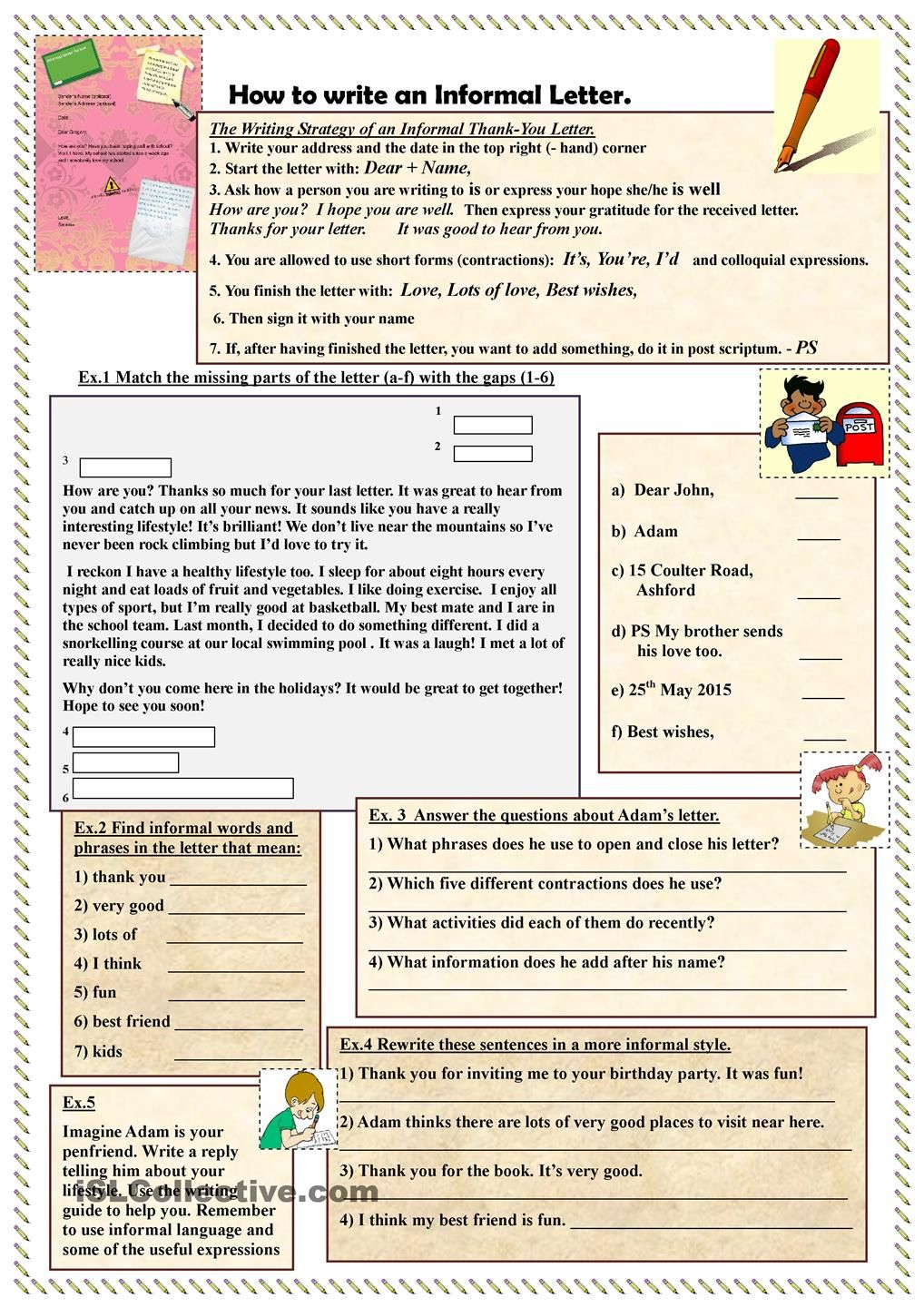 How to write an Informal Letter ESL worksheets of the