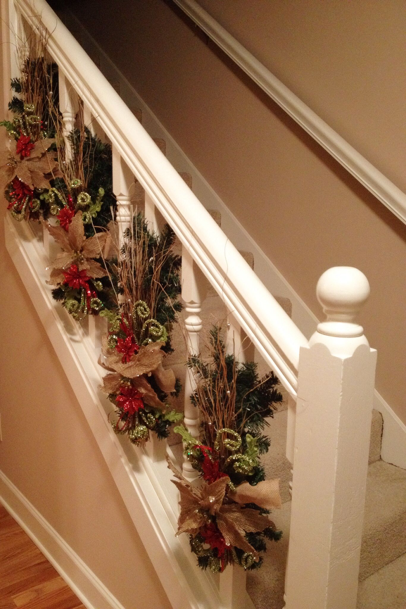 Christmas banister decorations. Different from the