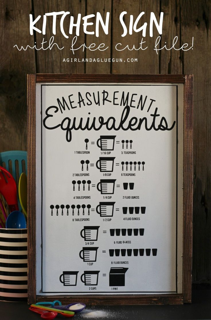 Kitchen measurement equivalent signwith free cut file