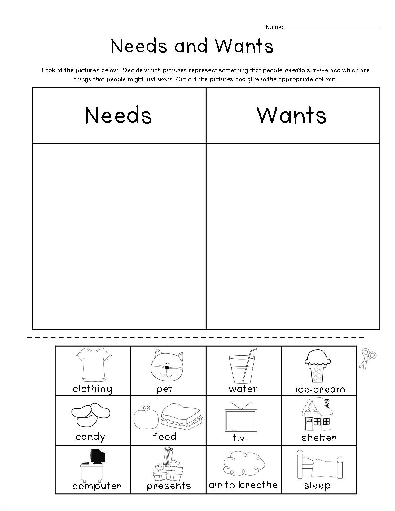 Cut And Paste Needs And Wants Includes A Cut And Paste Sorting Activity A Differentiated Mini