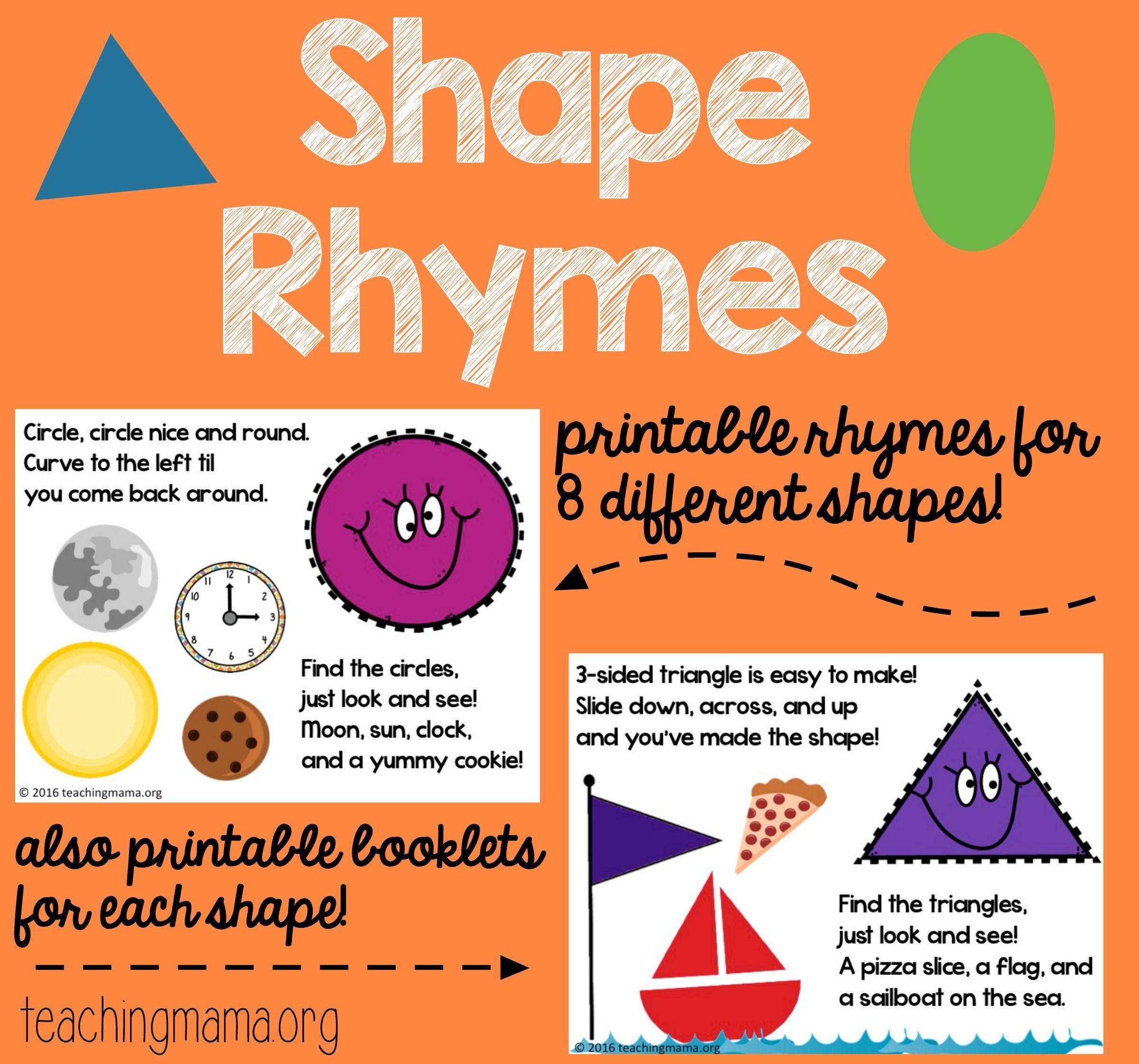 Shape Rhymes Printables