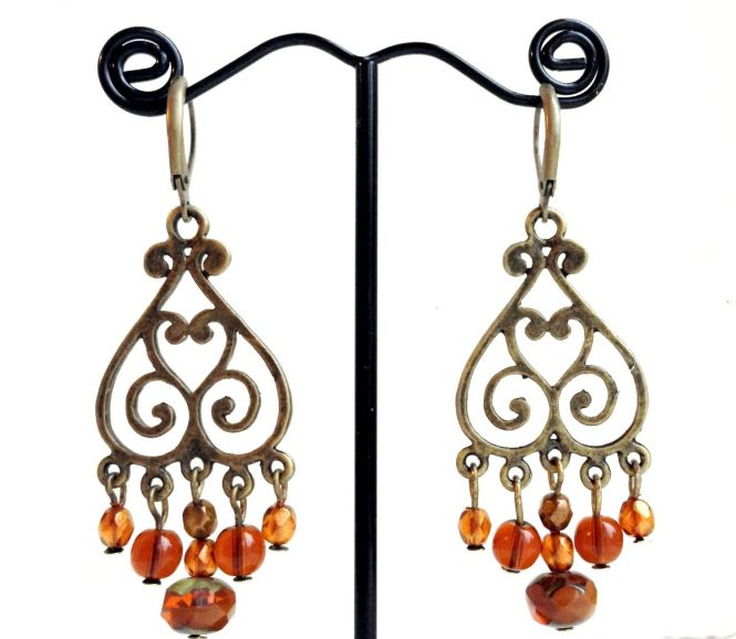 Chandelier Earrings In Burnt Orange And Amber By Shereestrinketbox On Etsy