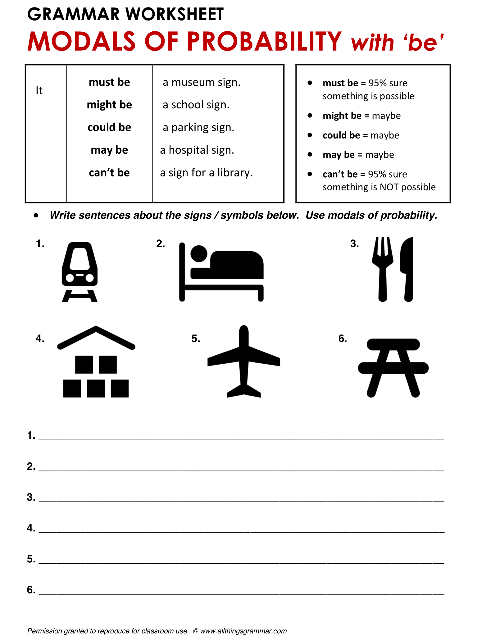 English Grammar Worksheet Modals Of Probability With Be