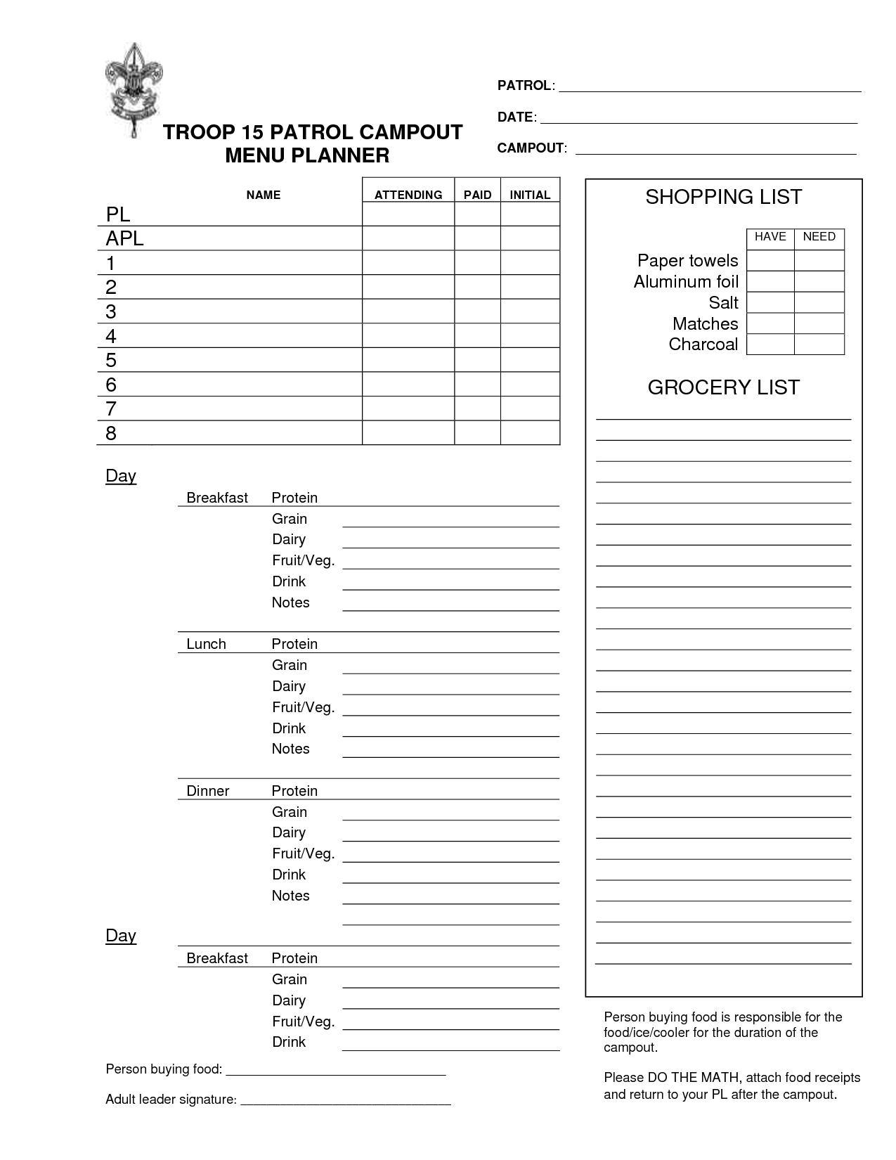 33 Boy Scout Planning Worksheet