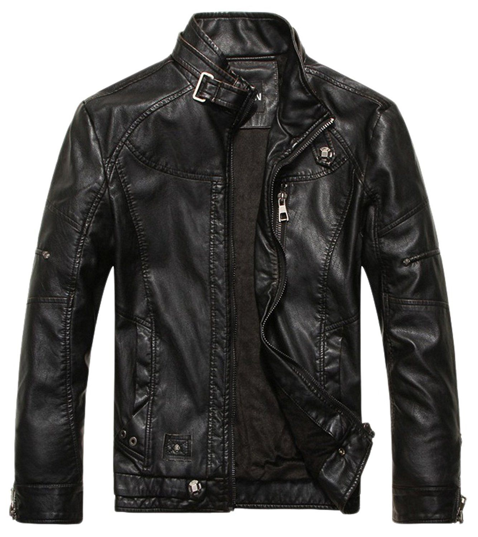Chouyatou Men's Vintage Stand Collar Pu Leather Jacket (X