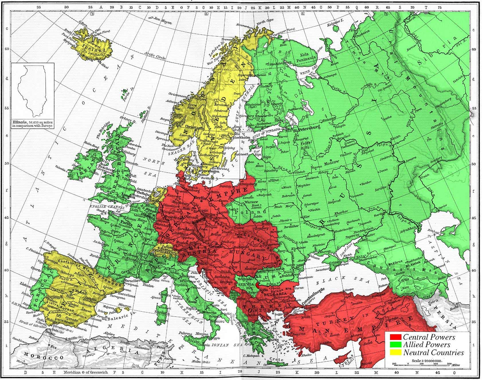 map of Europe WWI, red, green, yellow DESIGN Pinterest