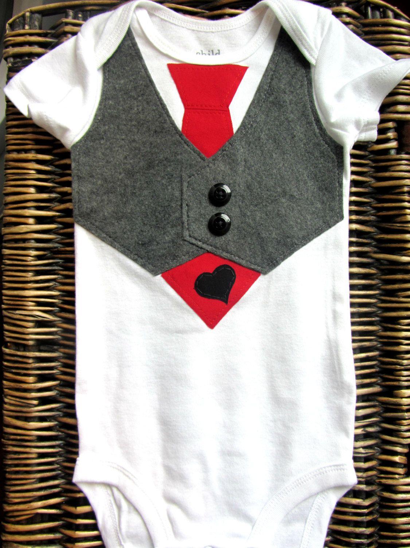 Baby Boy Clothes Baby Boy Tie Vest Red Tie Grey Vest