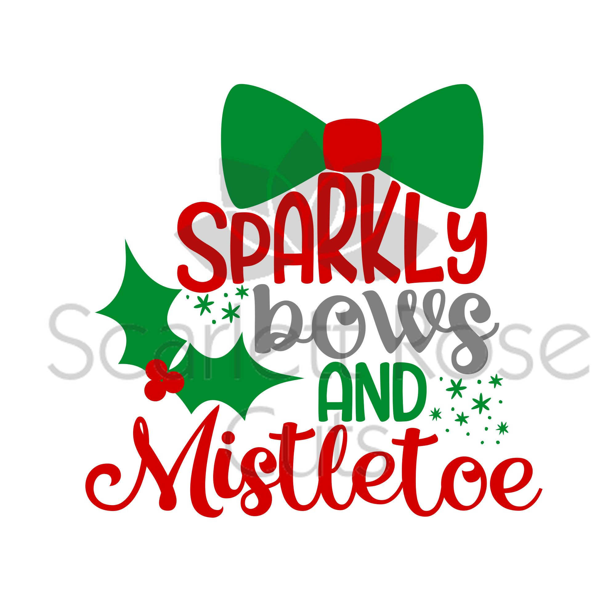 Sparkly Bows and mistletoe Christmas girl SVG cut file for