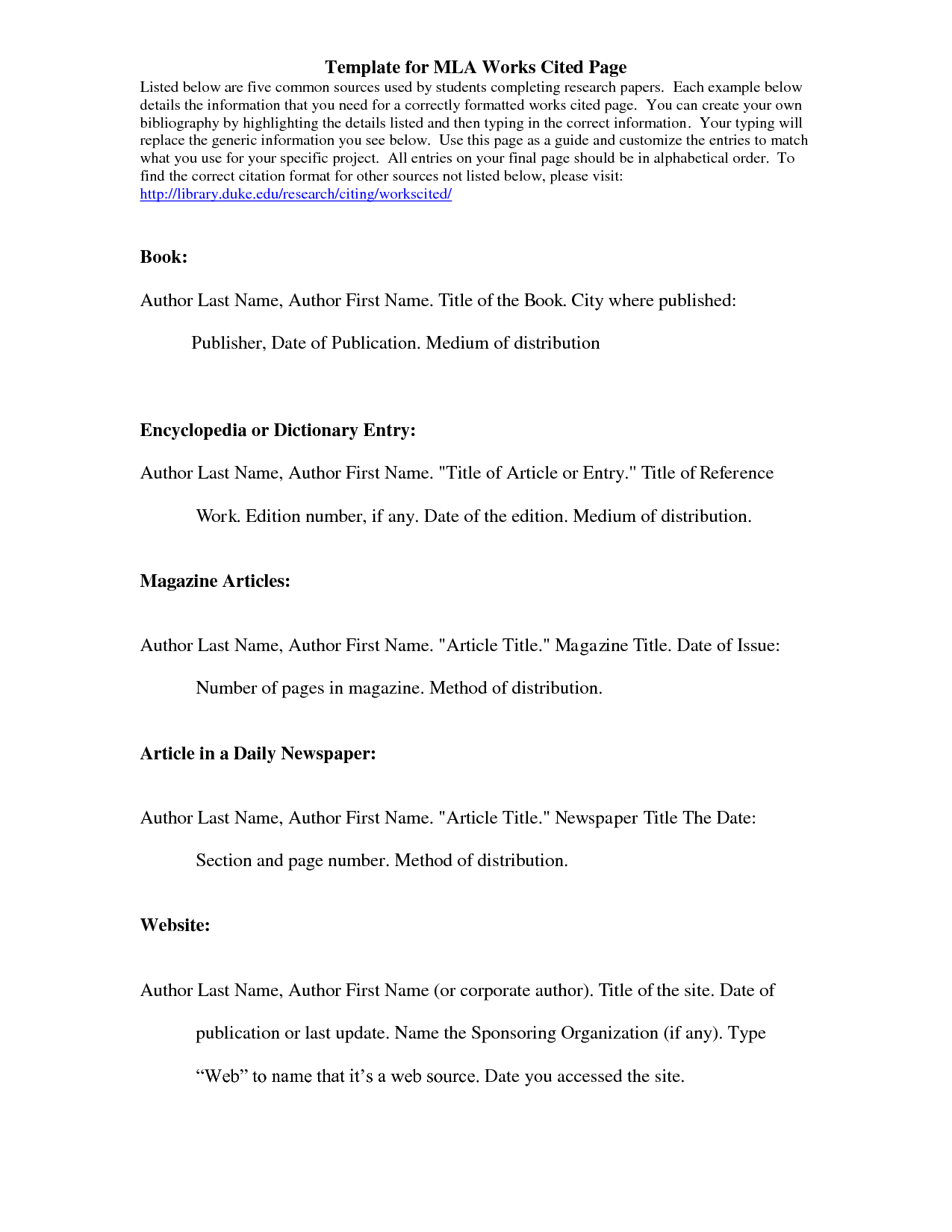 worksheet Works Cited Worksheet work cited template mla movie visual samples of all different templates on pinterest