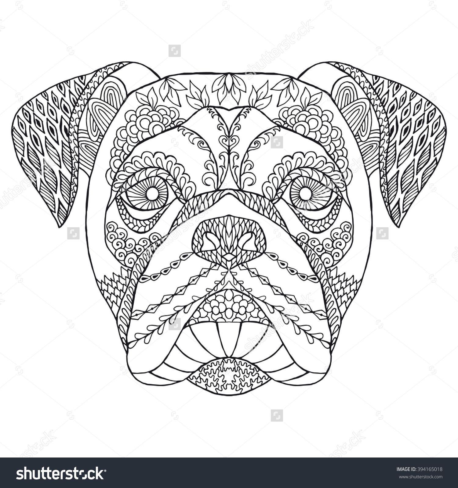 Zentangle Stylized Doodle Vector American Bulldog Head