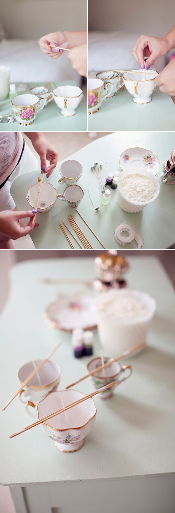 #DIY Vintage Teacup Candles – VERY easy and would be a cute gift/party favor.