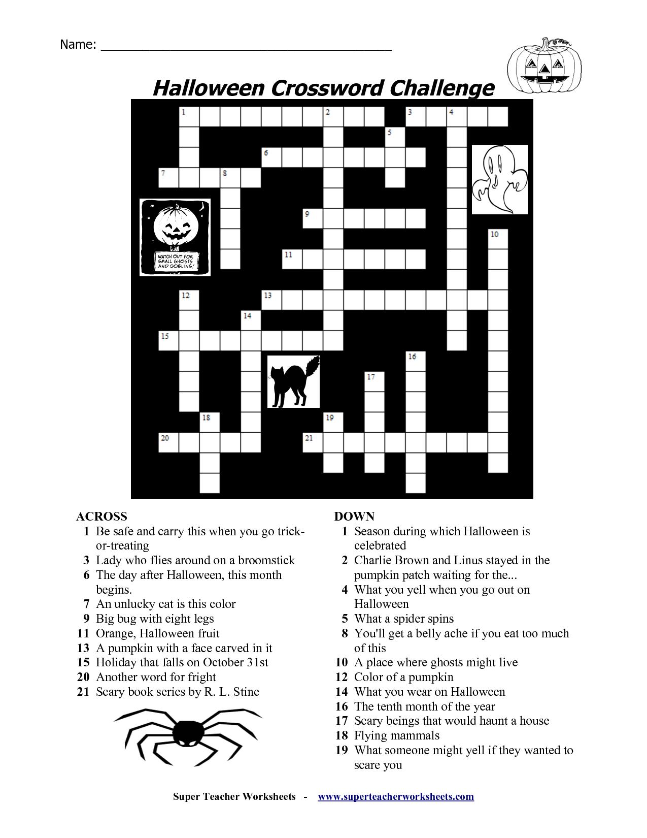 Printable Halloween Crossword Puzzles For Kids