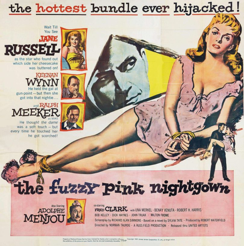 The Fuzzy Pink Nightgown movie poster with Jane Russell from 1957