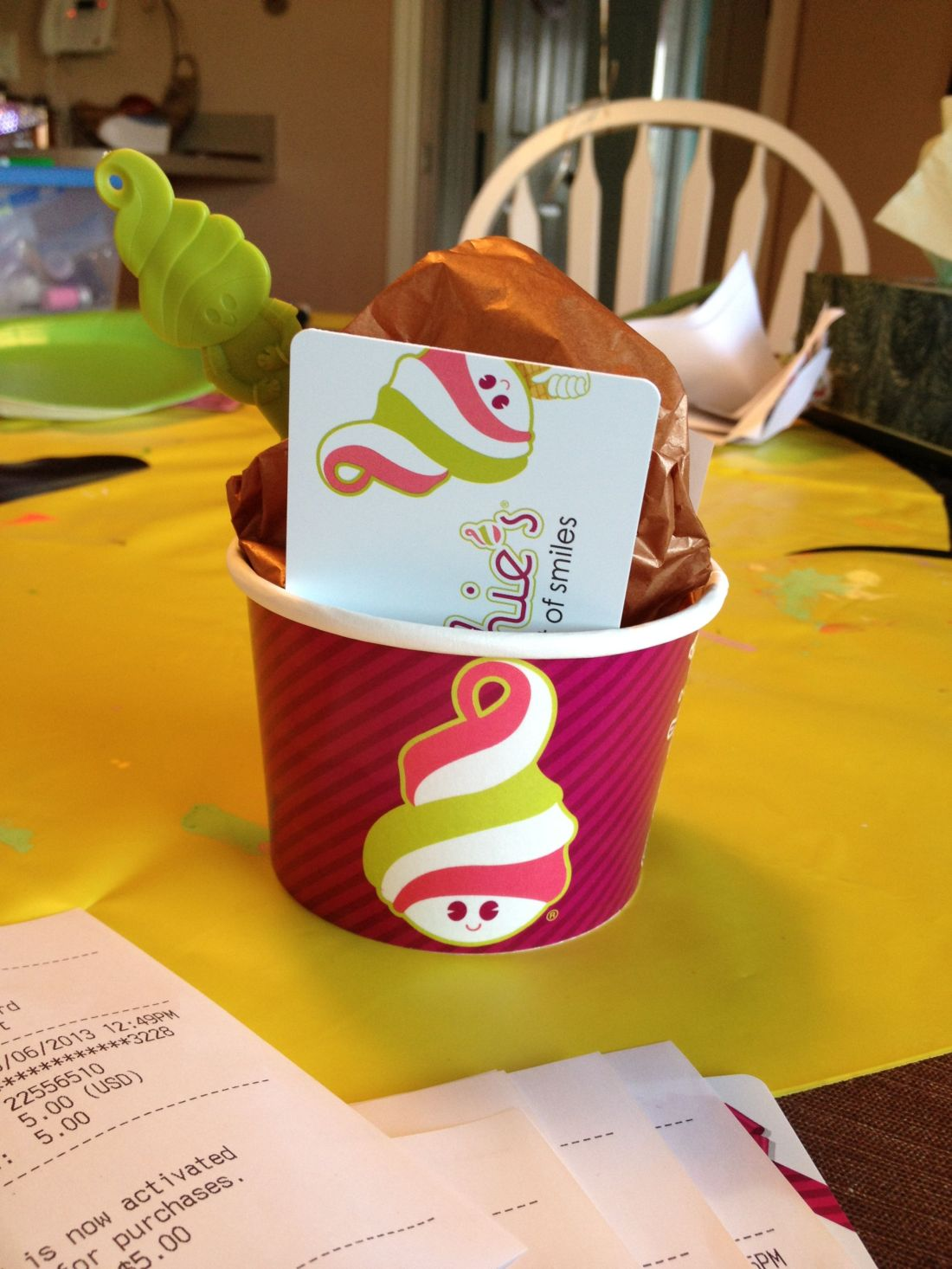 Cute way to give a gift card brand cup and spoon brown