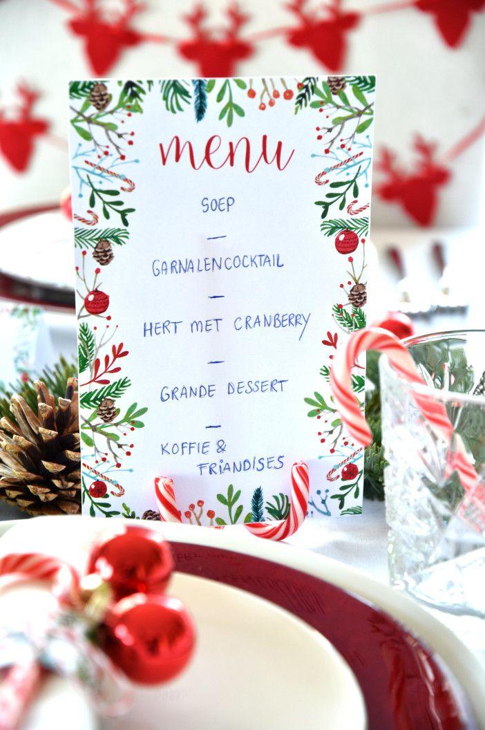 Free printables kerst menukaart, servetringen