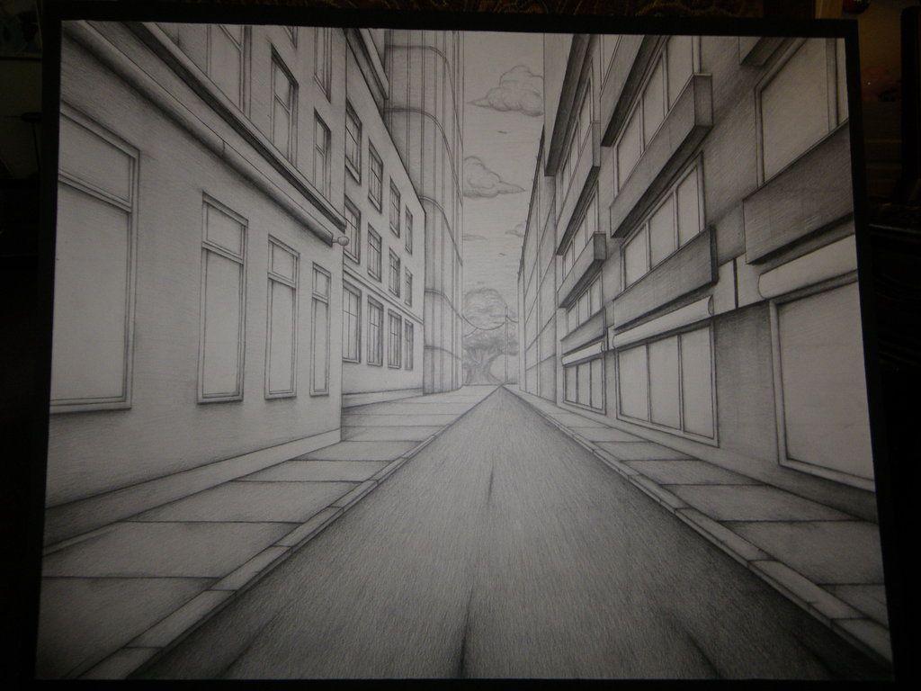 One Point Perspective City By Senx28viantart On Deviantart