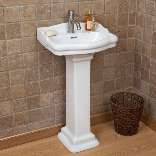 $268 Stanford Mini Pedestal Sink with Single Faucet Hole Overall