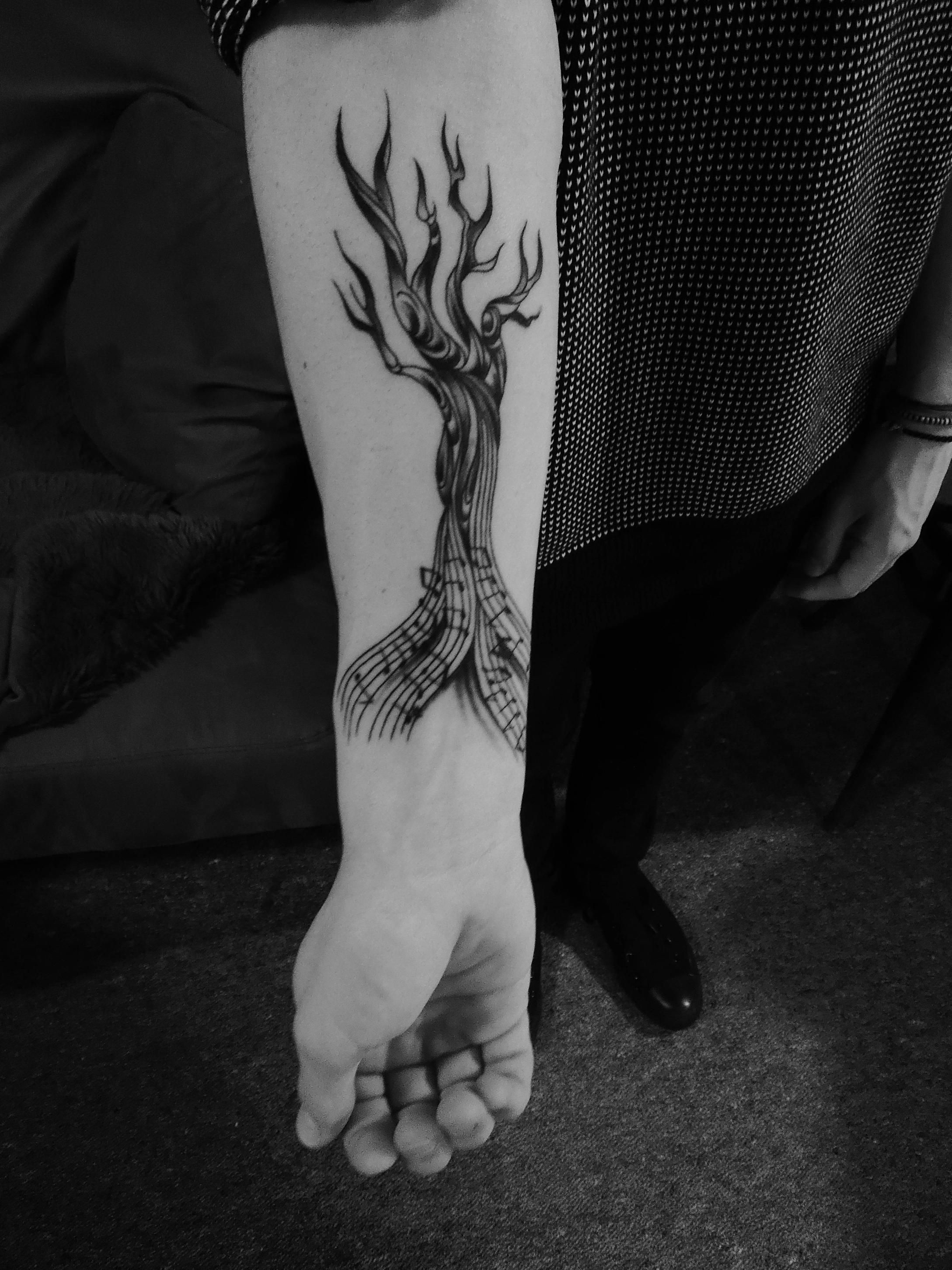 very cool tattoo, tree made of music Just a Little
