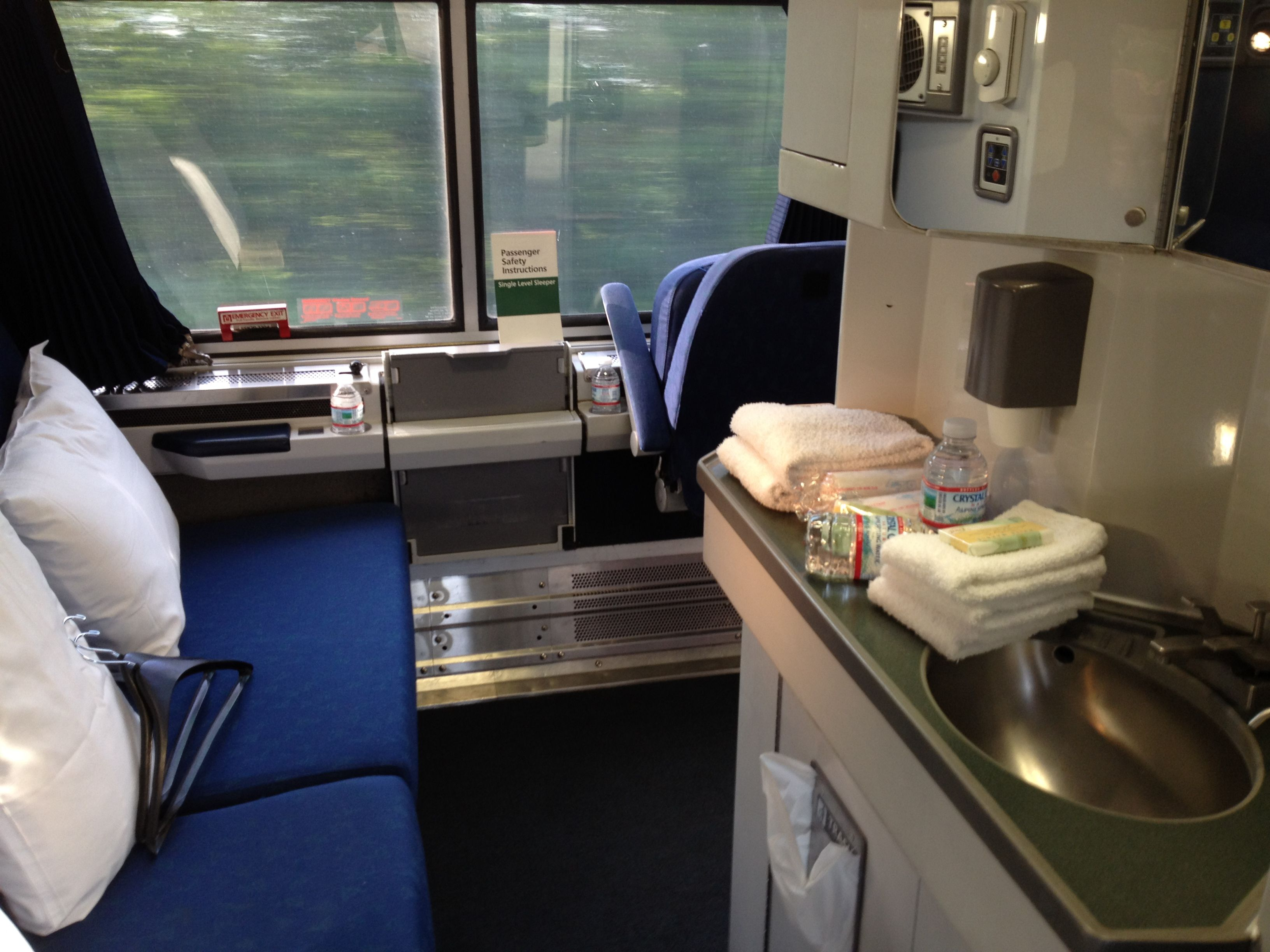 bedroom on amtrak's viewliner service on the eastern seaboard. can