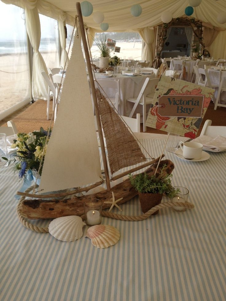 Driftwood Sailboat Centerpiece WeddingDecorations