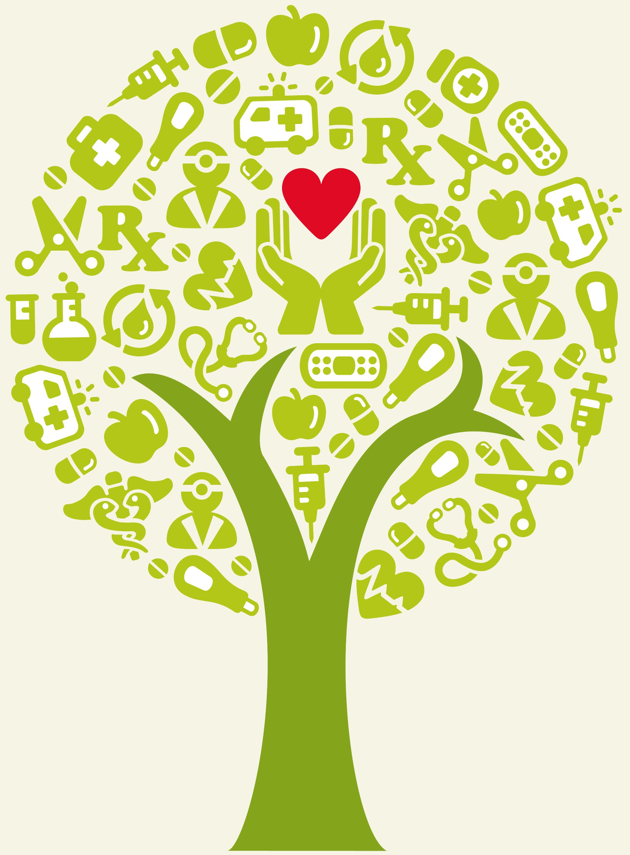 'A tree with health icons, arranged. Created with adobe