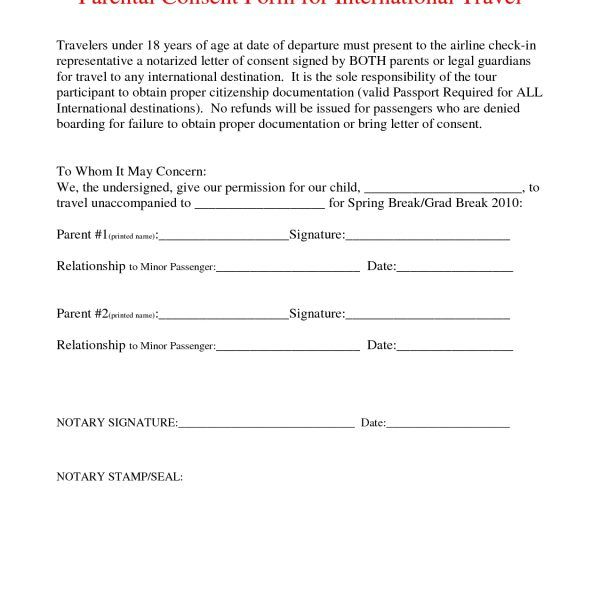 parental consent letter notarized document sample free aashe 5857