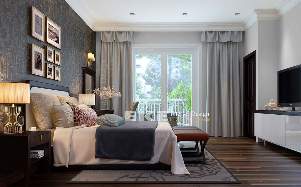 traditional home with dark wood flooring Tuananh Eke's