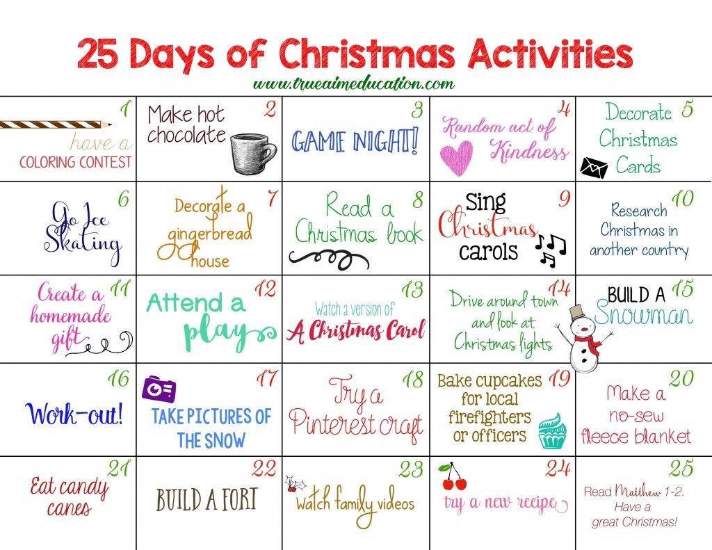 25 Days of Christmas Activities Advent Calendar Advent