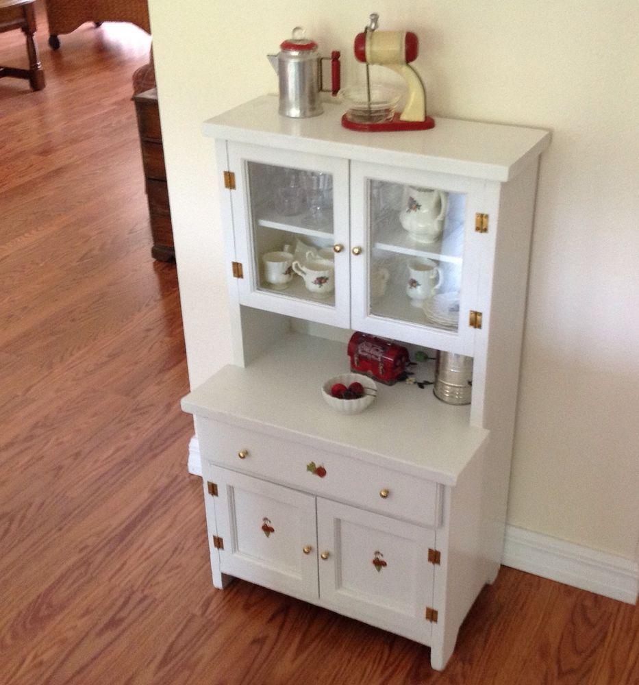 Vintage Child's Play Kitchen Cupboard / Hutch Wood Step