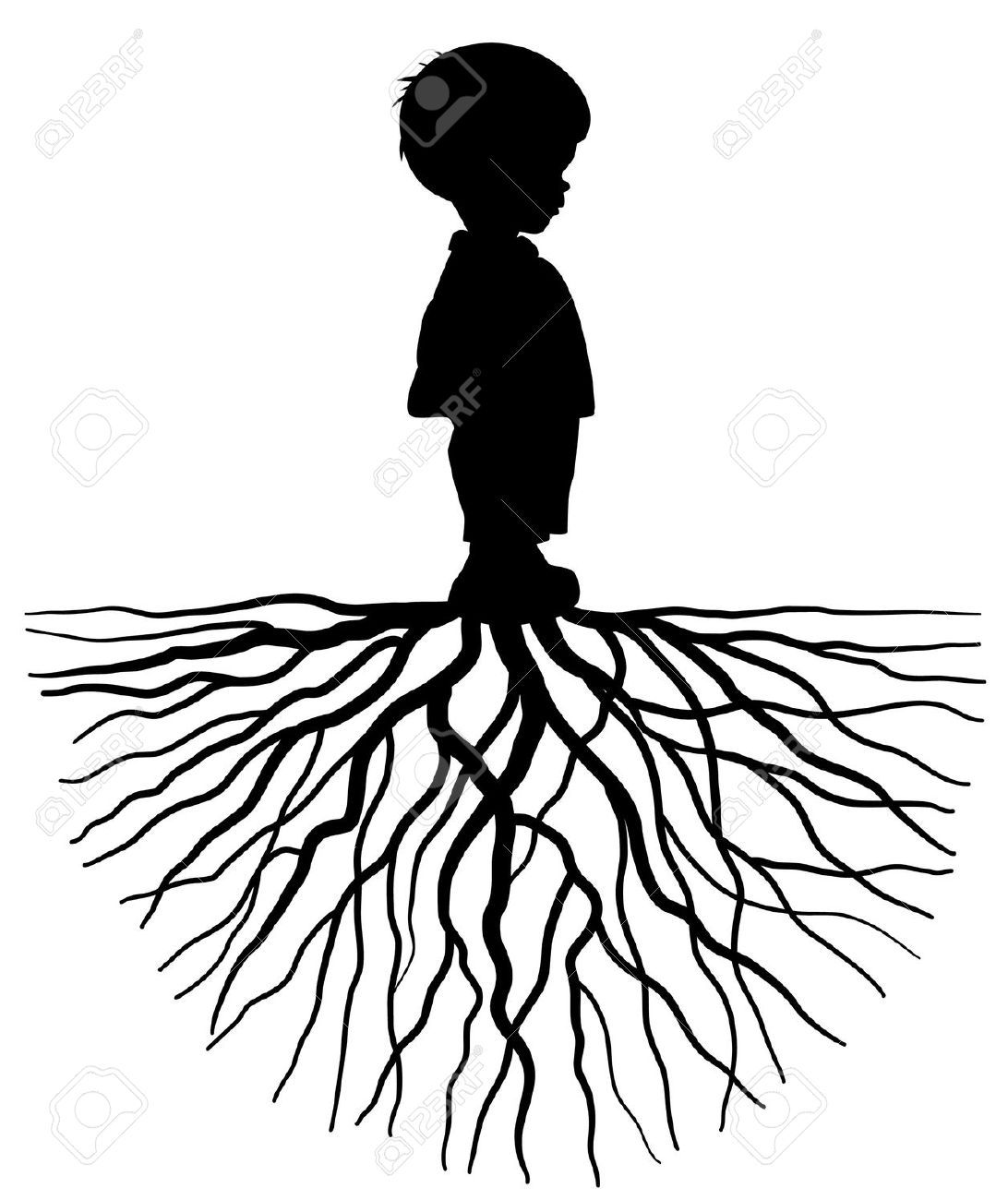 The Silhouette Of A Child With Root Royalty Free Cliparts