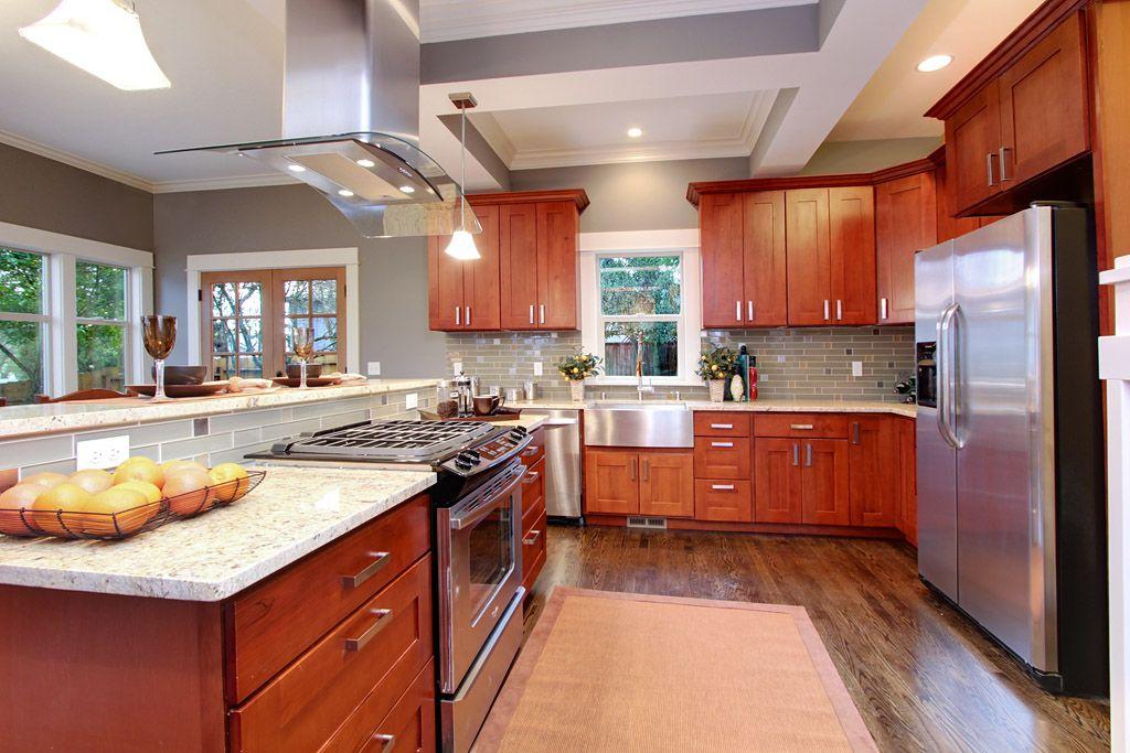 kashmir cream granite with natural cherry kitchen
