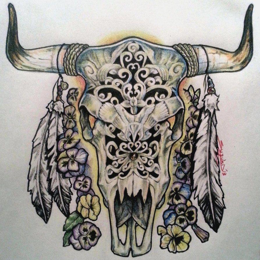 Ox/Cow Skull Tattoo Ideas Pinterest Bull skulls, Ox