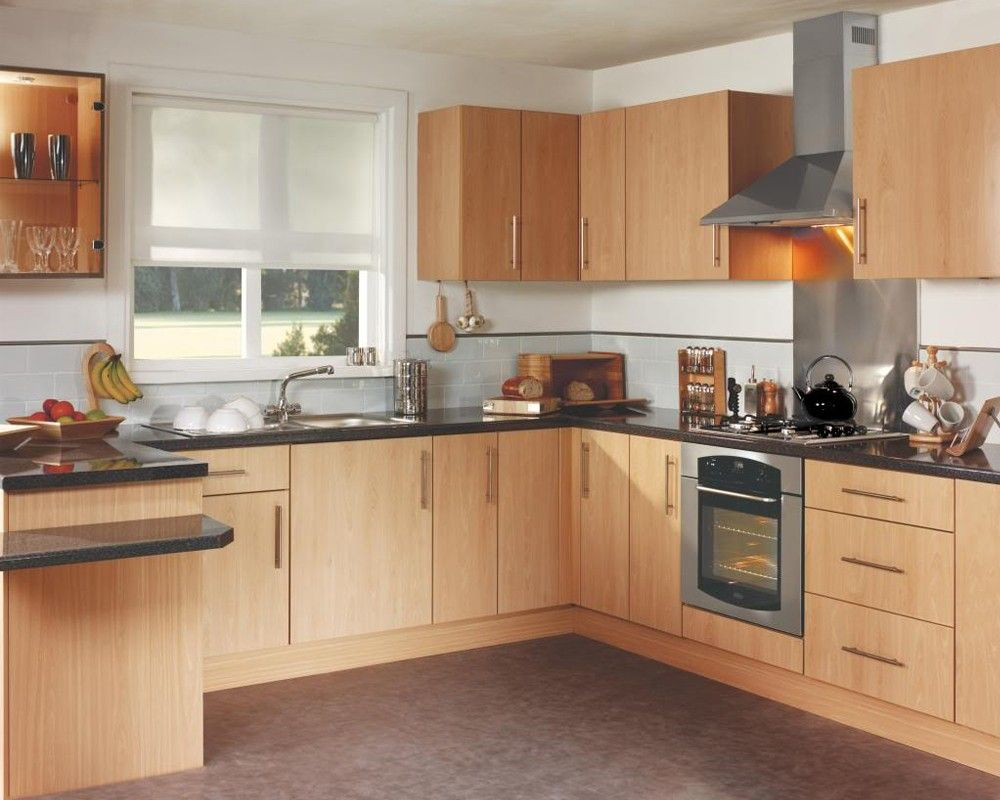 White Wall Beech Units Kitchen - Google Search