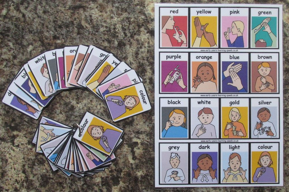 Colours flash cards with sign language communication
