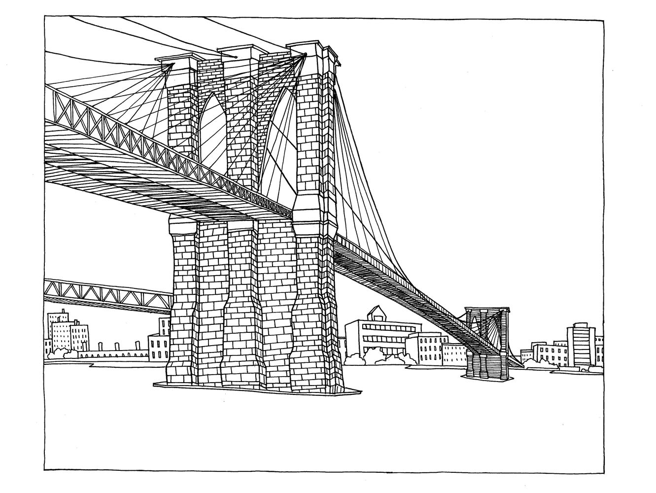 Line Drawing Of Brooklyn Bridge Tattoo