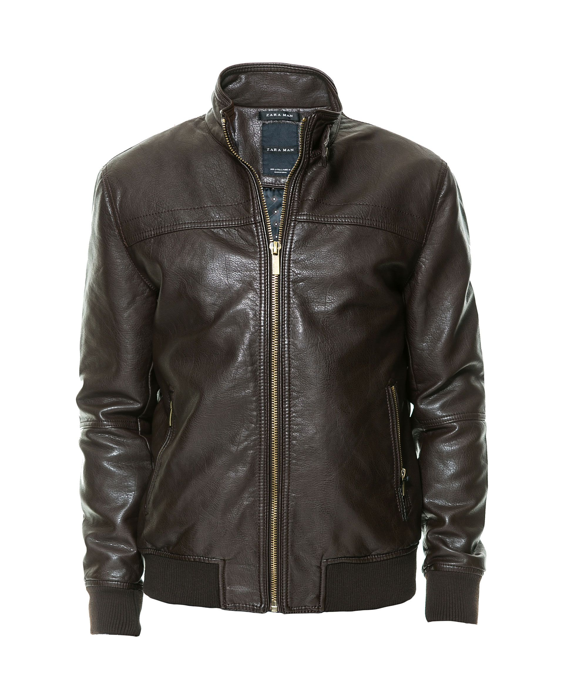 FAUX LEATHER JACKET WITH CHEST SEAM Coats and Jackets