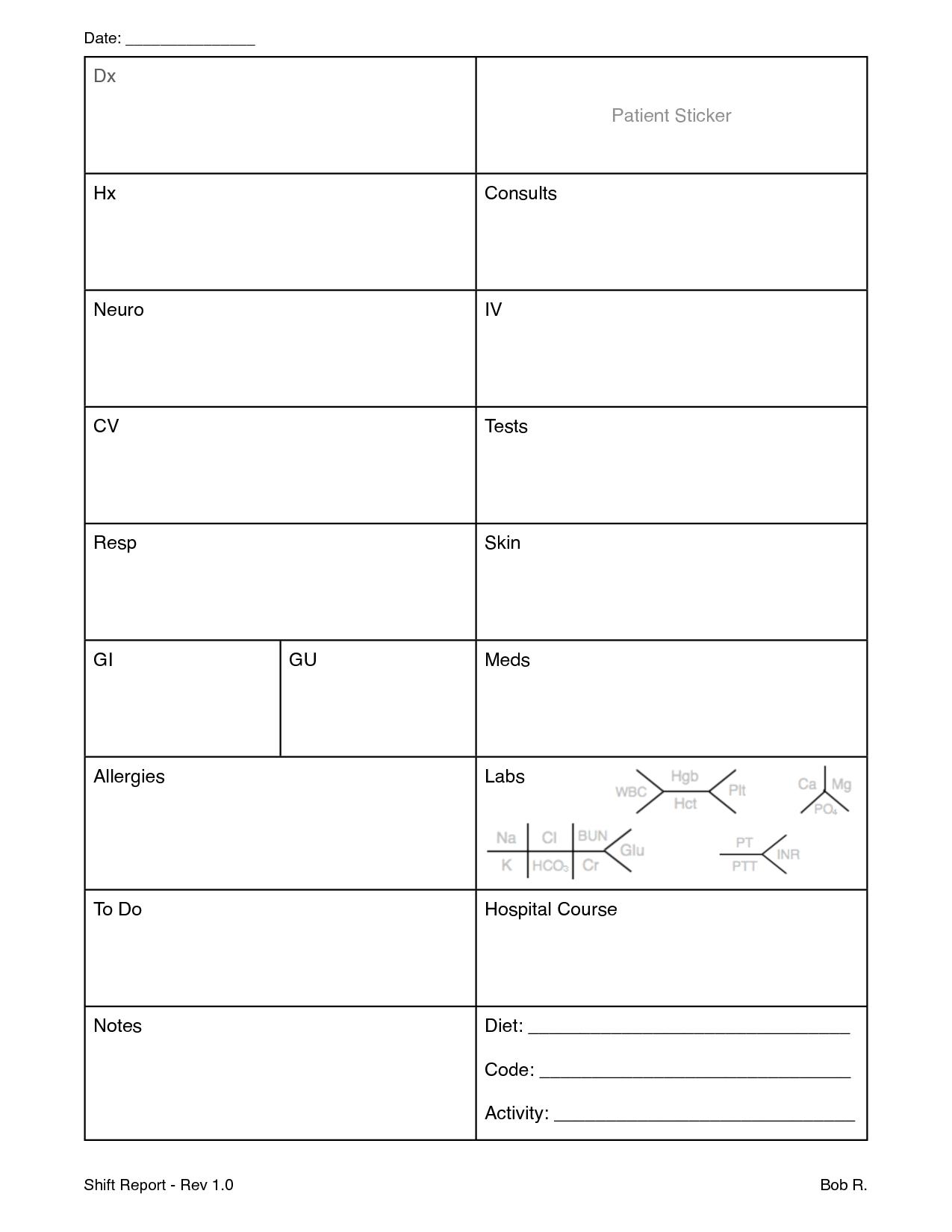 Nursing Shift Report Sheet