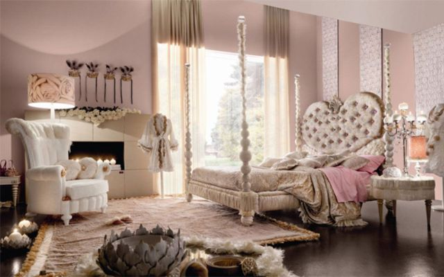 Purple Heart Shaped Bed With Grey Far Rug And Racks And Table