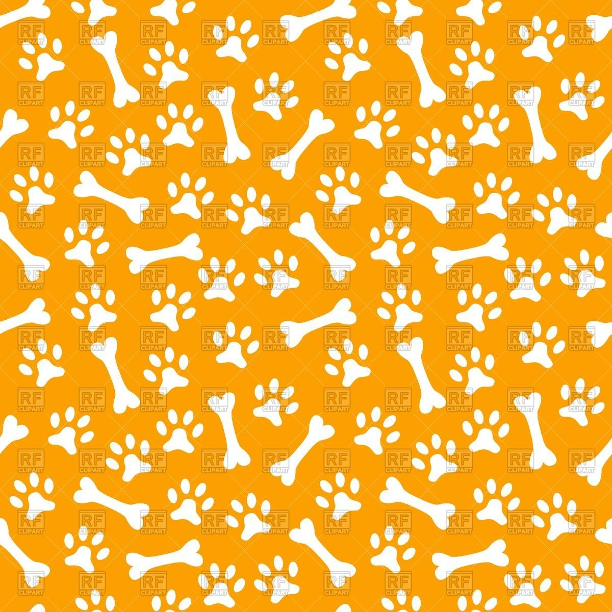 Seamless pattern with dog's paw print and bone, 40426