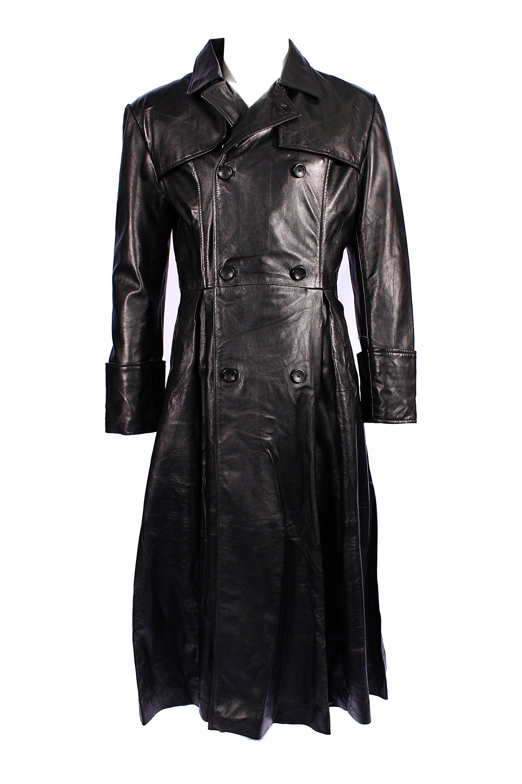 Men's MORPHEUS Black Lambskin FullLength Leather Long